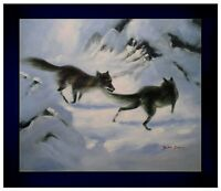 Contemporary Framed Foxes in Snowy Landscape, Hand Painted Oil Painting 20x24in