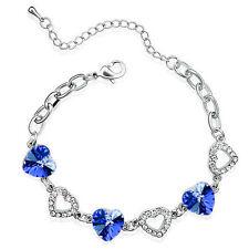 Elegant Sapphire / Royal Blue Crystal Hearts Rhinestones Silver Bracelet BB47