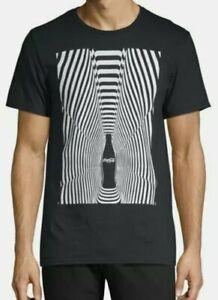 New Licensed Coca Cola Spiral Illusion Black and White Shirt Men's Sz Medium
