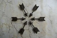 Vintage cast iron Arrow cabinet drawer door knobs handles pull rustic 6 pcs