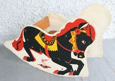 Vintage Wood Rocking Circus Horse. Baby Toddler Toy Colorful Graphic