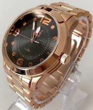 Mens Wrist Watch Rose Gold Metal Strap Classic Dressy Black Extra Smart Designer