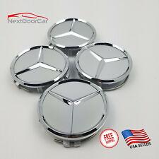 75mm Silver Chrome Wheel Center Hub Caps Emblem 4Pc Set Mercedes Benz