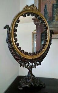"Victorian Cast Iron Mirror 18"" tall 19th Century c1837-1901"
