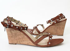 NEW** COACH Rosemary Floral Stud Rivets Wedge Sandal Shoe, 10 Tan