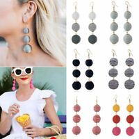 Trendy Bohemian Tassel Three Ball Long Linear Dangle Drop Earrings Women Jewelry