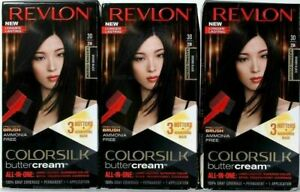 (3) Revlon 20N Brown Black Ammonia Free Vivid Hair Color Colorsilk Buttercream