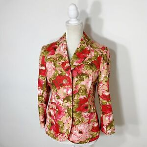 Ann Taylor Pink Green Floral 100% Silk Long Sleeve Three Button Blazer Jacket 6