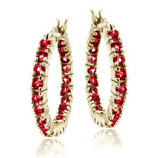 Gold Tone Over 925 Silver 2.1ct Lab Created Ruby Hoop Earrings