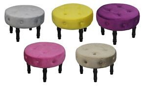 Velvet Round Buttoned Footstool Footrest Ottoman With 4 Wooden Legs