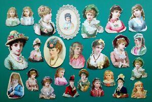 25 X ORIGINAL VICTORIAN SCRAPS HEADS & SHOULDERS OF PRETTY LADIES - ALL USED