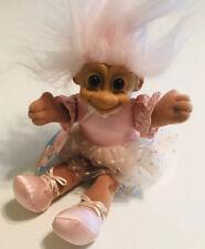 "Russ Troll Doll Tu Tu Figure Vintage Russ Berrie Beanbag Stuffed 7"" Pink"