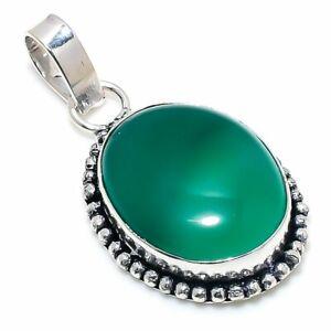 "Green Onyx Gemstone Handmade 925 Sterling Silver Jewelry Pendant 1.81"" h751"