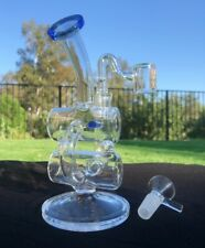 """Hookah Water Pipe MINI Glass Bong Recycler Rig 7"""" Blue + Two Bowls"""