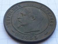 France 1855 ... 10 Centimes 1855A chien n°2 - Bronze - Napoléon III ... Tête Nue