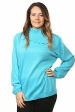 Ladies Knitted Polo Neck Full Sleeve Pullover Jumpers Tops Plus Size16 to 26 UK Size 16/18 Turquoise 100 Acrylic