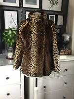Leopard Print Faux Fur Swing Coat 50s 60s Glamorous Move Star