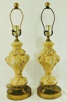 Pair Antique/Vtg Gold Capodimonte Italy Hnd Ptd Figural Table Lamps Dolphin Base
