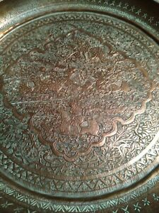 """2 PERSIAN ANTIQUE Copper 9"""" HUNTING engraved copper & tin plates Fine Etching !"""