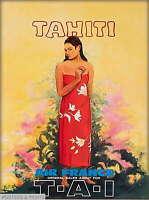 308138 Tahiti Tahitian Girl TAI South Pacific Vintage Travel PRINT POSTER