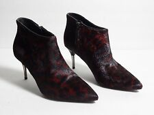 $600 Brian Atwood Leopard Print Pony Hair Red Black Booties Size 38.5 eu / 8 us