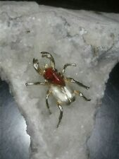 Vintage Scarab Beetle Insect Bug Pin Brooch Stone Gold Tone Red Black
