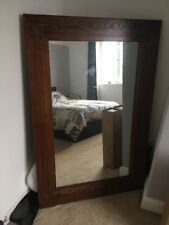 Large Vintage Oak Framed Mirror 4ft 6 By 3ft Very Heavy Solid Mirror