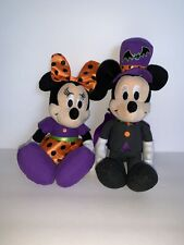 """Disney Store Mickey Mouse and Minnie Mouse 11"""" Halloween Plushes HTF"""