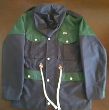 New! LACOSTE L!VE Waterproof Hooded Marine Blue Jacket Mens Size-56 LG Rain Snow