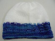 HAND KNITTED - BLUE/WHITE - BABY INFANT SIZE - STOCKING CAP BEANIE HAT!