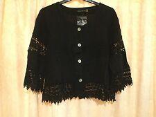 Ellamoda white or black linen/lace short jacket 3/4 sleeve S M L XL CLEARANCE!