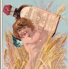 Maltine Nerve Tonic Strychnia Cod Liver Oil Bottle Cure 1800's Fairy Cherub Card