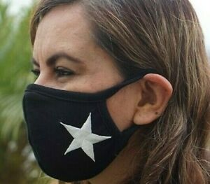 MADE IN USA, Face mask, White Star mouth nose cover, 100% Cotton