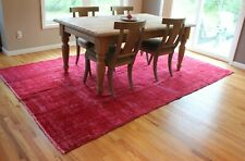 Overdyed Vintage Area Rug - Bright Red