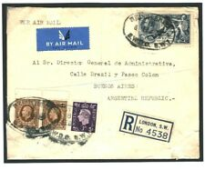 GB 10s SEAHORSE Cover 1938 HIGH VALUES Registered Air Mail ARGENTINA Naval MC169