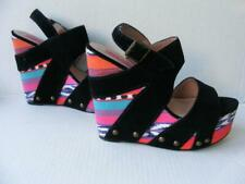 Betsey Johnson Shoes 9 Ikat Tribal Black Suede Leather Platform Colorful Heels