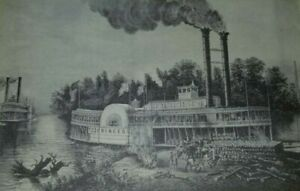 WOODING UP THE MISSISSIPPI Steamboat Princess Fueling up CURRIER & IVES Print