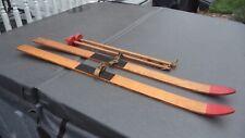 Vintage Wooden Child's Skis  W/ Poles Excellent
