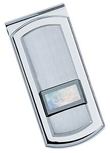 Colibri  silver spring loaded gallery mother of pearl   money clip