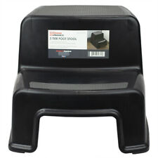 2 Step Plastic Stool with Slip-Resistant Rubber Top, Black Eby65322