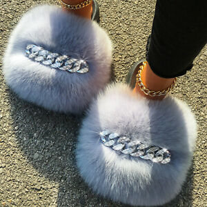 Real Fox Fur Slippers Diamond Chain Sandals Furry Women's Shoes Furry Fluffy New