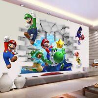 3D View Cartoon Art Wall Stickers Wall Super Mario Bros Boy Room Kids Art Decal