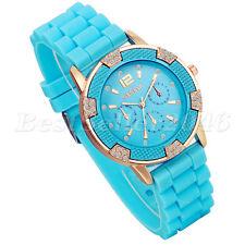 Fashion Rhinestone Jelly Silicone Rubber Quartz Analog Women Ladies Wrist Watch