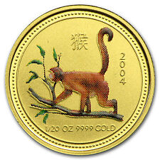 2004 Australia 1/20 oz Gold Lunar Monkey BU (SI, Colorized) - SKU #56486