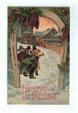 "Vintage Postcard ""Christmas Greetings"" Carolers Horseshoe Arch Embossed Germany"