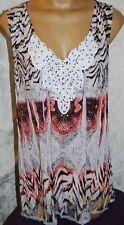 V Cristina Size XL Sleeveless multi color print Lace Hem Tank Tunic V-Neck  EUC