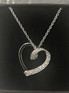 Sterling Silver And Real Diamond Heart Necklace ( Hallmarked)