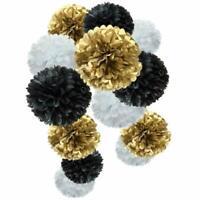 Flower Hanging Pom Poms Party Paper Tissue New Year Decor(Gold,Black,White,12pc)
