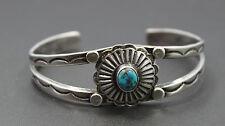 "Southwestern Sterling Silver & Turquoise Stampwork Cuff Bracelet 6 1/4"""