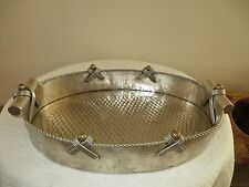 """RARE SERVER STAINLESS STEEL & BRASS TRAY EX LARGE OVAL TRAY 26 X 17"""" HANDCRAFTED"""
